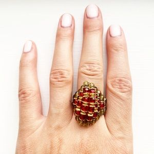 Boho gold, red & green beaded stretch dome ring